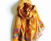 Mustard & Gray Pure Silk Sari Scarf | Vibrant Colors Turmeric Yellow Gray Pink | Earthy | Soft Elegant | Gift for her | Thanksgiving