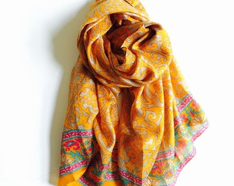 Mustard & Gray Pure Silk Sari Scarf   Vibrant Colors Turmeric Yellow Gray Pink   Earthy   Soft Elegant   Gift for her   Thanksgiving