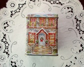 vintage DECORATIVE TIN with lid -victorian house, snow, Christmas