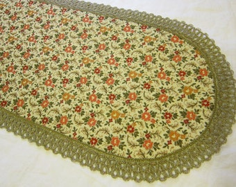 vintage brocade table runner with metallic lace - 12 x 38 inches