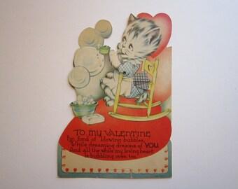 vintage VALENTINE card - mechanical valentine - KITTEN blowing bubbles