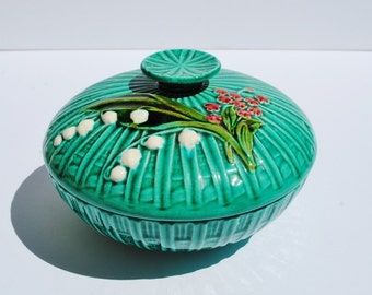 Vintage German Lily of the Valley Majolica Covered Dish - Majolica, German Majolica, Lily of the Valley, Covered Dishes, Lidded Bowls, Bowls