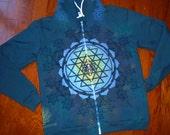XL Sacred Geometry Zippered Chakra Totem Hoodie w/ Sri Yantra & Flower of Life