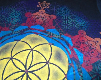 S  Seed of Life Metatron's Cube Mandala Hand Painted Sacred Geometry Chakra Tee w/ Lotus Petals, Flower of Life, Honeycomb, Metatron's Cube