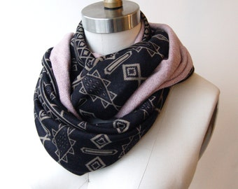 SALE! Circle Scarf Olive and Black Southwest Print with Mauve