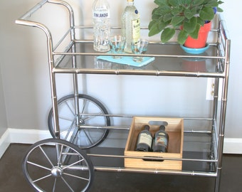Hollywood Regency Bar Cart - Chrome Bamboo Silver Mid Century Modern Glam Retro Furniture Tea Vintage