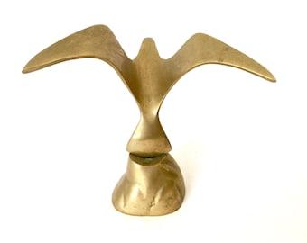 Solid Brass Sea Bird Figurine / Brass seagull