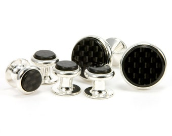 Carbon Fiber Silver Cufflink Tuxedo Stud Set   Unique Gift Idea For Groom, Groomsmen, Father of The Bride, Anniversary, Fathers Day