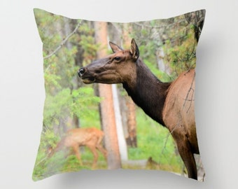 Cow Elk Pillow Cover, Throw Pillow, Rustic Decor, Cabin Decor