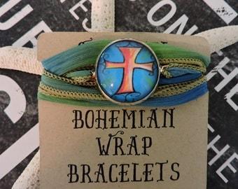 Silk Wrap Bracelet, Boho Jewelry, Wrist Wrap Bracelet, Cabochon Jewelry, Cross Bracelet, Wrap Jewelry, Anklet, Wrap Anklet, Gift