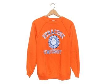 Vintage Bright Orange Syracuse University College Crewneck Artex Sweatshirt Made in USA - XL
