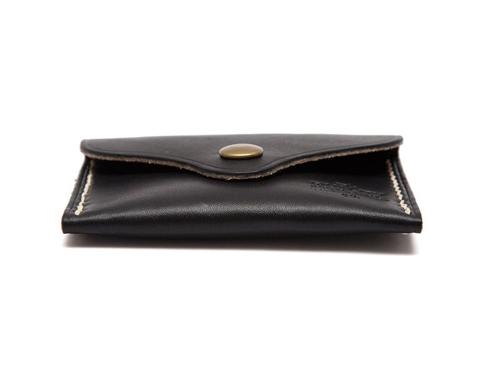 QMC Handmade Leather Card Holder MTA Pocket Wallet - Black
