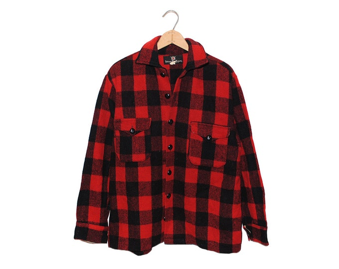 Vintage Hudson's Bay Company Red & Black Buffalo Checkered Wool Flannel Button Up Shirt - Large (os-bds-9)
