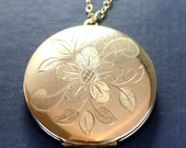 Large Gold Locket Necklace, Round Wild Rose Engraved Gold Filled Vintage Pendant - Charming Simplicity
