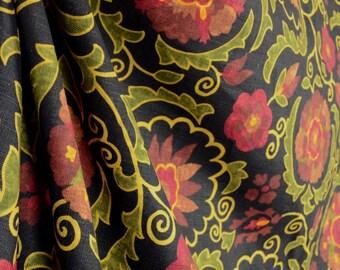 02097 Cranberry Real Linen Floral Fabricut Fabric