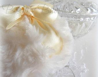 POWDER PUFF - soft cream and ivory - creme blanc pouf - gift box option - body powder duster