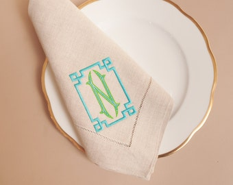 Monogrammed Hemstitched Natural Linen Dinner Napkins