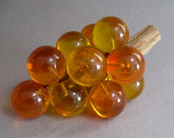 "Retro MCM Lucite Grape Bunch 8"" Cluster Gold Amber Color Lucite"