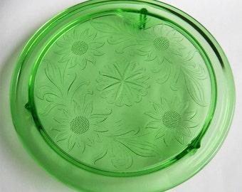 1930'S Uranium Green Glass Footed Cake Plate Sun Flowers Jeanette Depression Era