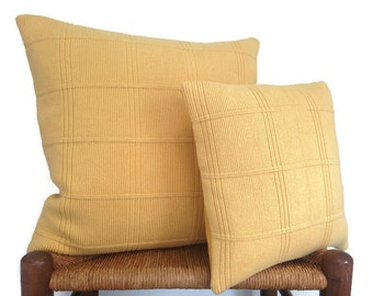 Cotton Knit Up Cycled Sweater Pillow Set of Two Yellow Cushion Covers 20 Inch 14 Inch Cottage Chic Decor Pillow Set