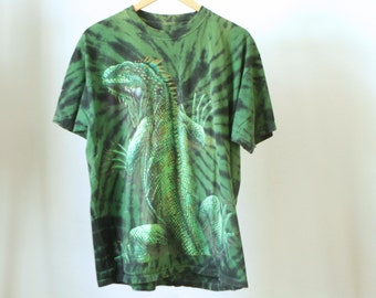 vintage 90s LAZY IGUANA lizard print SCRIBBLE all over print green tie dye t-shirt