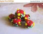 30% OFF SALE Red Lampwork Glass Roundelle 14mmx9mm Beads, 6 pcs