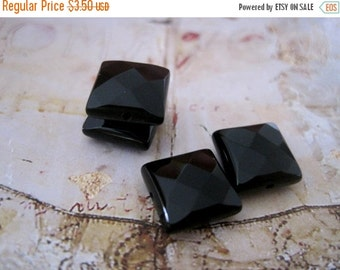 20% OFF ON SALE Onyx Faceted Square 10mm Beads, 6 pcs, Gemstone Beads