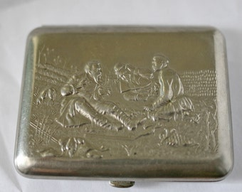 Vintage Cigarette Case / Business Card Holder / Metal Wallet - Hunting / Hunters / Pheasants / Partridges - from Russia / Soviet Union