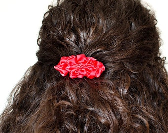Bright pink fabric small french barrette hair clip