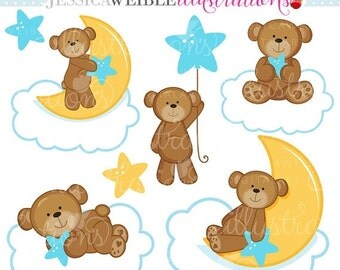 SALE Dreaming Boy Bears Cute Digital Clipart for Commercial or Personal Use, Nursery Clipart, Bears on Clouds, Boy Bears Clipart