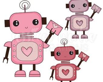 Love Bot Cute Digital Clipart, Cute Robot Clip art, Robot Graphics, Cute Valentine Robot Illustration, #075