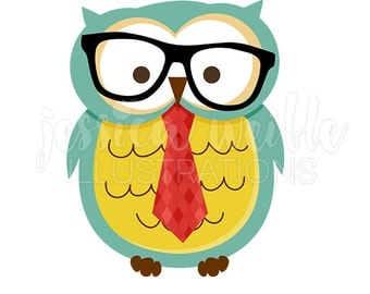 Hipster Owl Cute Digital Clipart, Owl with Tie and Glasses Clip art, Owl Graphic, Smart Owl Illustration, #1569