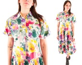 PENELOPE 80s Sweet Floral Watercolor Cotton Collared Button Up Springtime Day Dress Medium M