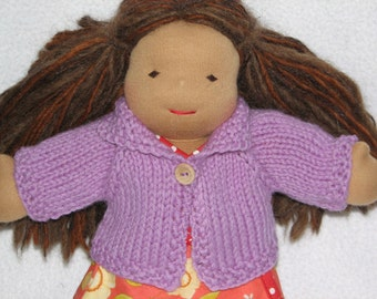 Waldorf Doll Sweater for 10 inch Doll in Lilac - Purple - Lavender Wool RTG