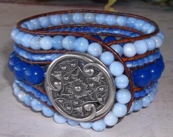 Blue Beaded Leather Cuff Bracelet