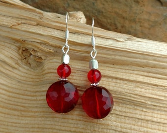 Ruby Red Glass Earrings, Ruby Red Sterling Silver Dangle Earrings, Basic Red Dangle Sterling Silver Earrings, Ruby Red Earrings
