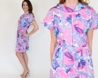 70s Pink & Blue Floral Dress | Watercolor Dress, Small