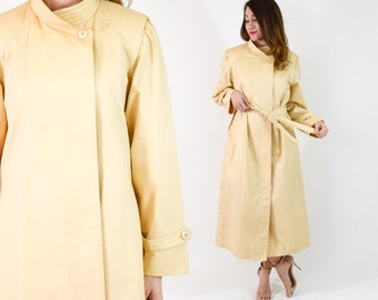 80s Yellow Trench Coat | Buttercup Long  Spring Coat | Large