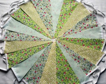 20ft/6m Green Fabric Bunting Shabby Chic Wedding Garland Banner