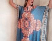 VALENTINES DAY SALE 1960s caftan dress psychedelic blue orange psychedelic boho hippie 60s