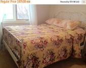 VALENTINES DAY SALE vintage king size floral comforter duvet reversible bedspread yellow roses victorian english cottage shabby chic