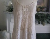 French Sugar Couture - Linen and Lace Collection - Vintage Style Tea Stain Color Lace Lagenlook Tank Top/Slip - Altered Couture