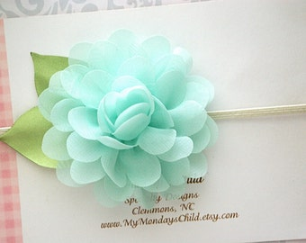 Mint Baby Headband, Mint Headband, Mint Flower Headband, Easter Headband, Baby Flower Headband, Baby Headband, Newborn Headband, Toddler