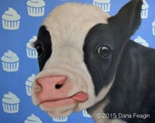 Cow - Cow Print - Cow Art - Calf Print with Cupcakes - Birthday Cow - 10% Percent Benefits Animal Charity