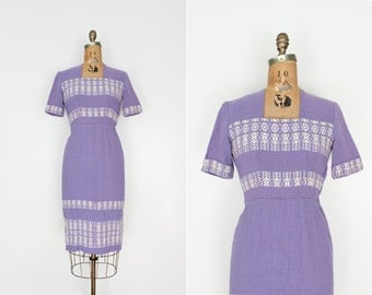 50 dress small - vintage 1950s dress - 1950s wiggle dress - lilac purple wool - embroidered