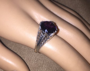 Vintage Sterling Silver AMETHYST Filigree Ring size 6