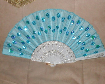 Vintage Light-Blue Beaded Folding Fan