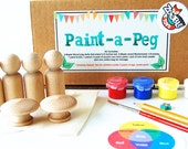 Paint a Peg Doll Kit - Kids Craft Kit - Learn To Paint - Gift Idea - Design Your Own Peg Doll and Mushrooms