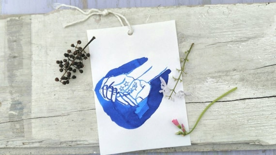 STARS on MY HANDS original painting blue ink minimal simple original