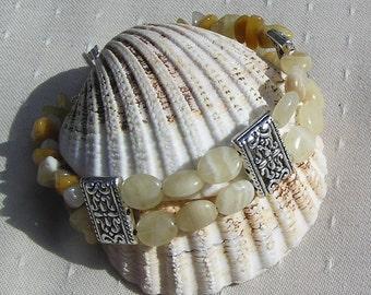 "Yellow Aragonite & Yellow Jade Gemstone Crystal Bracelet ""Serene Armour"", Chakra Bracelet, Yellow Bracelet, Jade Bracelet, Libra Bracelet"